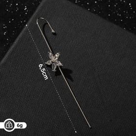 """Серьги """"Каффы"""" булавка, орхидея, цвет белый в серебре"""