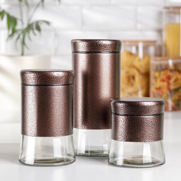 Набор банок для сыпучих продуктов «Трио», 3 шт, 350 мл, 500 мл, 1000 мл, цвет бронза - фото 7682932