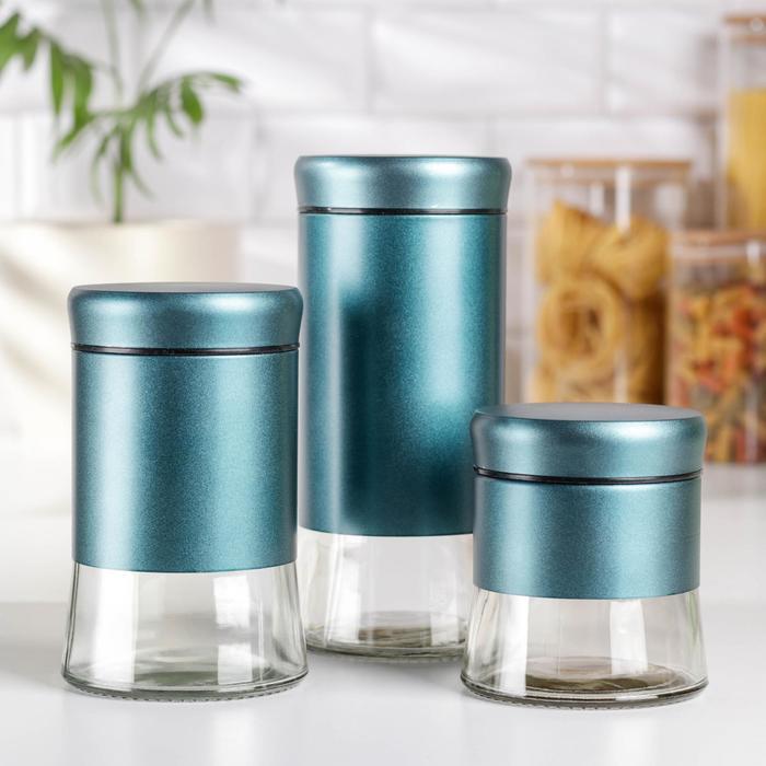 Набор банок для сыпучих продуктов «Трио», 3 шт, 350 мл, 500 мл, 1000 мл, цвет бирюзовый - фото 7682941
