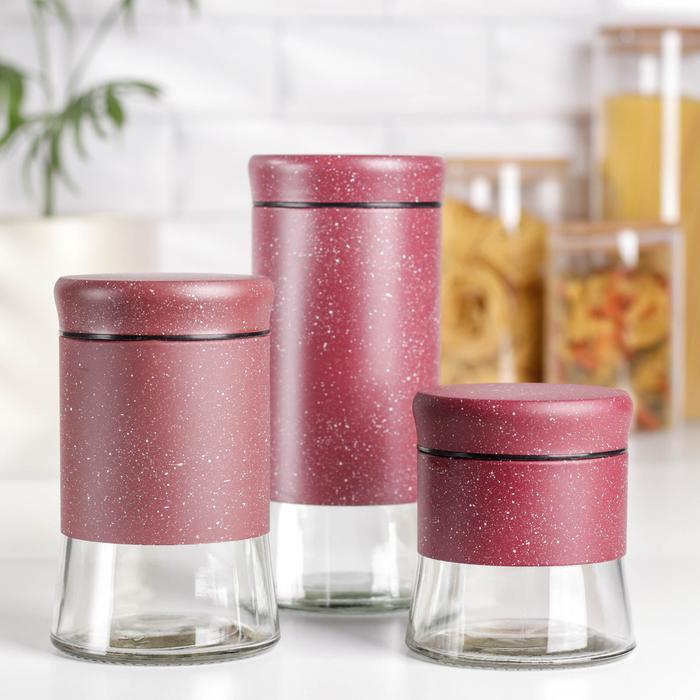 Набор банок для сыпучих продуктов «Трио», 3 шт, 350 мл, 500 мл, 1000 мл, цвет красный мрамор - фото 7682944