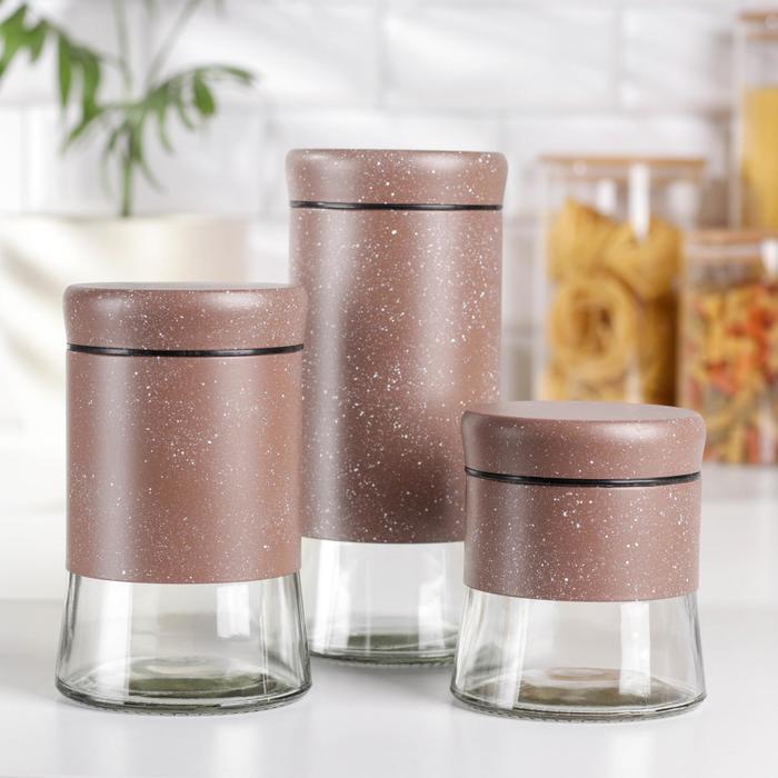 Набор банок для сыпучих продуктов «Трио», 3 шт, 350 мл, 500 мл, 1000 мл, цвет коричневый мрамор - фото 7682947
