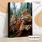 Картина по номерам на холсте с подрамником «Леопарды. Мама и малыш» 40х50 см - фото 7683296
