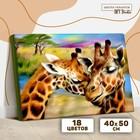 Картина по номерам на холсте с подрамником «Жирафы. Нежность» 40х50 см - фото 7683299