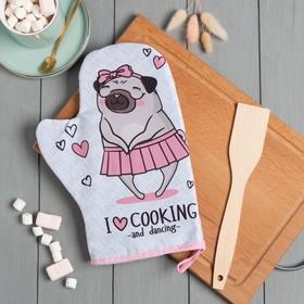 """Кух.набор """"Cook with love"""",варежка-прихватка 20х28см, лопатка деревян."""