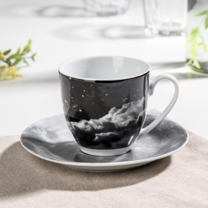 Чайная пара Доляна «Вселенная», чашка 200 мл, блюдце d=14,5 см - фото 7683013