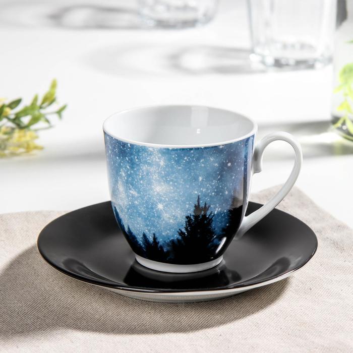 Чайная пара Доляна «Звёздная россыпь», чашка 200 мл, блюдце d=14,5 см - фото 513880