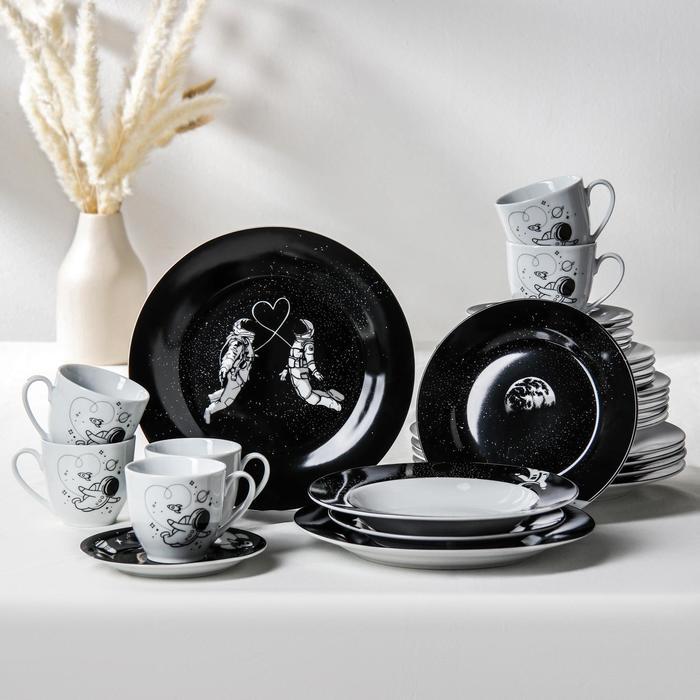 Сервиз столовый Доляна «Космическое притяжение», 24 предмета: тарелки 19/21×3,5/24 см, чайная пара 200мл - фото 7682988