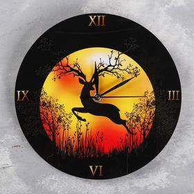 """Часы настенные """"Олень на закате"""", d=23.5. плавный ход, стрелки микс"""