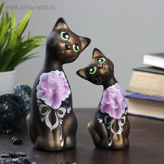 """Сувенир Набор """"Love Коты"""" ушастые, 2 шт черные золото"""