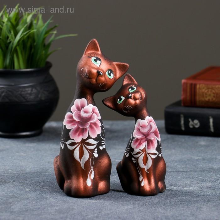 """Сувенир Набор """"Love Коты"""" ушастые, 2 шт черные медь"""