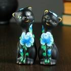 """Фигура """"Love Коты"""" с розами черные (набор 2 шт) 4 × 4 × 11 см 141"""