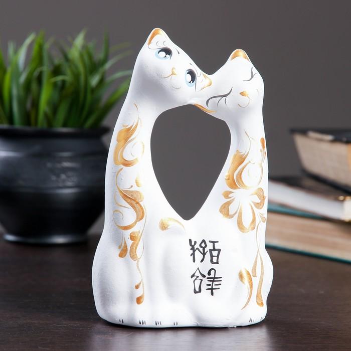 """Фигура """"Коты влюбленные"""" большие белые 6×11×17см 038"""
