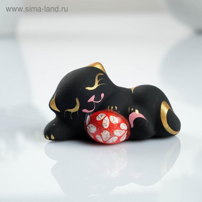 """Сувенир """"Котик с мячом"""" лежа черный"""