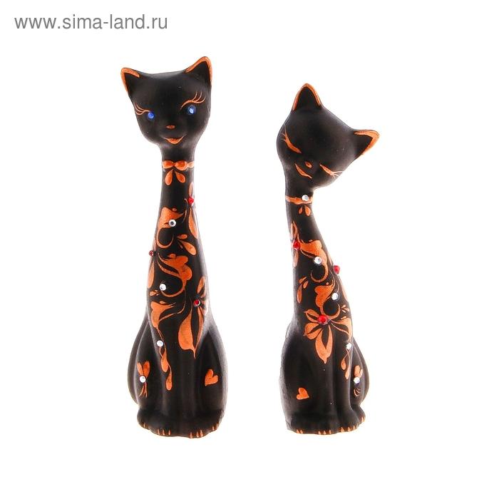 """Сувенир Набор """"Love Коты"""" малые со стразами, 2шт черные"""