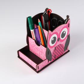 """Подставка для канцелярии деревянная """"Совушка"""", с принтом, розовая"""