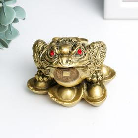 """Нэцке полистоун под бронзу """"Денежная жаба на слитках золота"""" 4,7х6,5х6,3 см"""