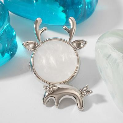 """Brooch """"Fawn"""" small., color white in silver"""