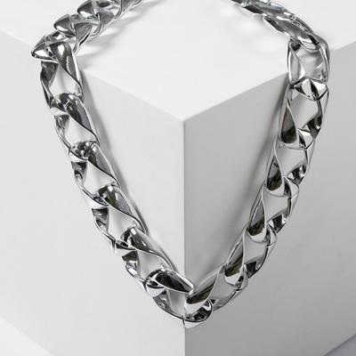 "Necklace ""Chain grunge"" square weave, color silver, 50cm"
