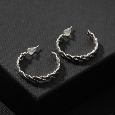 """Ring earrings """"Style"""" braided, d=2.5, color silver"""