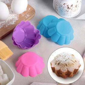 """Набор форм для выпечки 7х3 см """"Ромашки"""", нижний диаметр 4,5 см, 6 шт, цвет МИКС"""