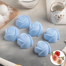 "A set of forms for baking, 6-piece, 7x4 cm ""Roses"", MIX colors"