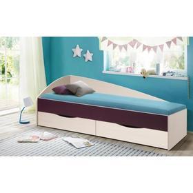 Кровать Фея-3 асимметричная 800×1900  вудлайн кремовый/баклажан