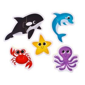 Макси - пазлы для ванны (головоломка), «Морские животные», 5 пазлов, 10 деталей