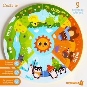 Игрушка - пазл для ванны (головоломка), «Пирамидка: Времена года», 9 деталей