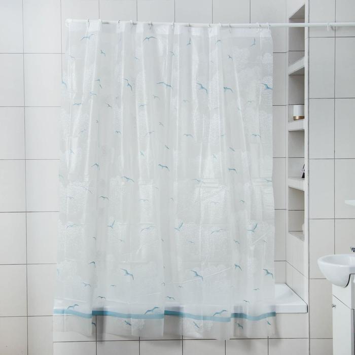 """Curtain for the bathroom """"Seagulls"""", 180x180 cm, EVA"""