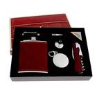 """Подарочный набор 5 в 1 """"Фэшн"""": фляжка 210 мл + воронка, нож-открывалка 4 в 1, ручка, стакан складной d=5 см"""