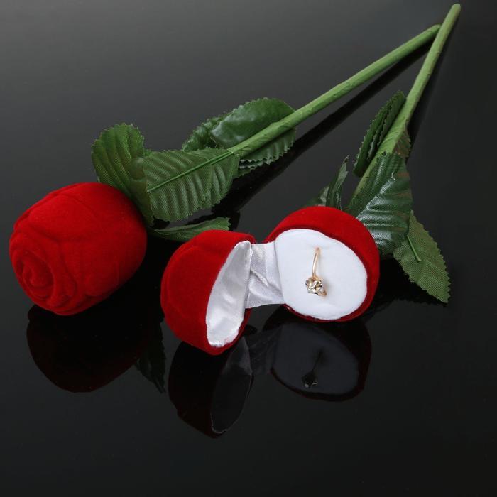 "Футляр под кольцо ""Роза"" 4,5*4,5*25, цвет красно-зеленый, вставка белая"