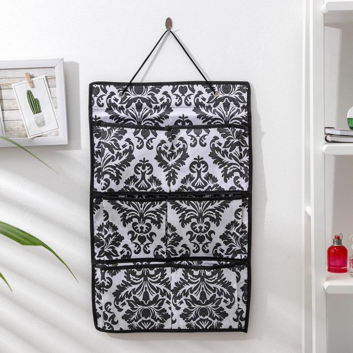 Органайзер с карманами подвесной «Вензель», 37×60 см, 6 отделений, цвет чёрно-белый - фото 308332243