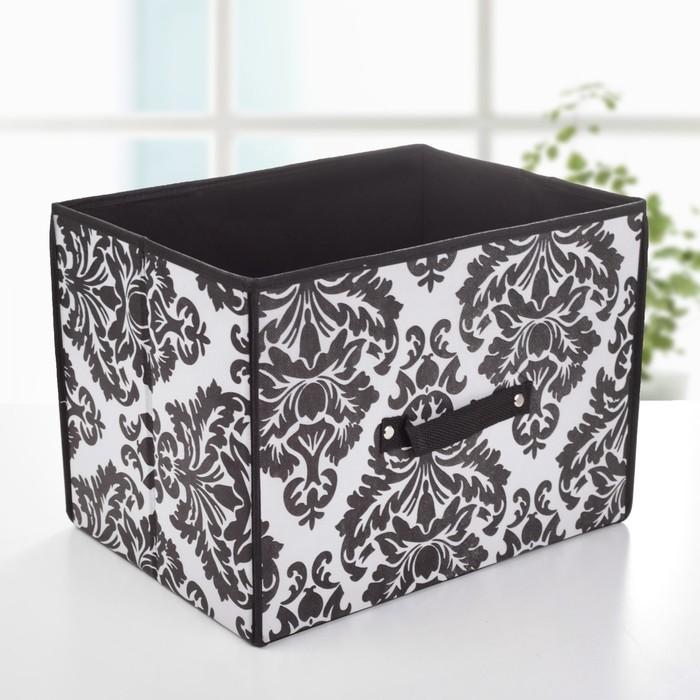 """Короб для хранения 37х27х27 см """"Вензель"""", цвет черно-белый"""