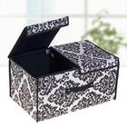 """Короб для хранения, с двойной крышкой 50×30×25 см """"Вензель"""", цвет чёрно-белый"""