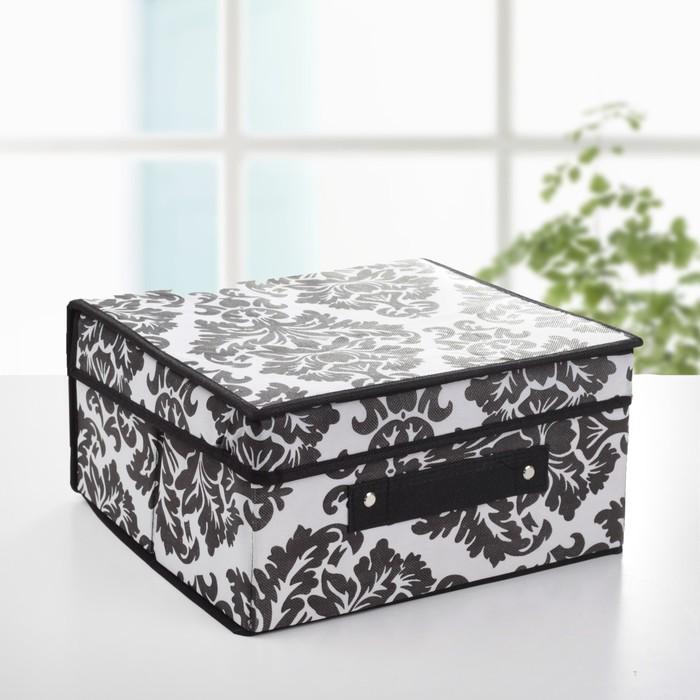 """Короб для хранения с крышкой, 30х28х15 см """"Вензель"""", цвет черно-белый"""