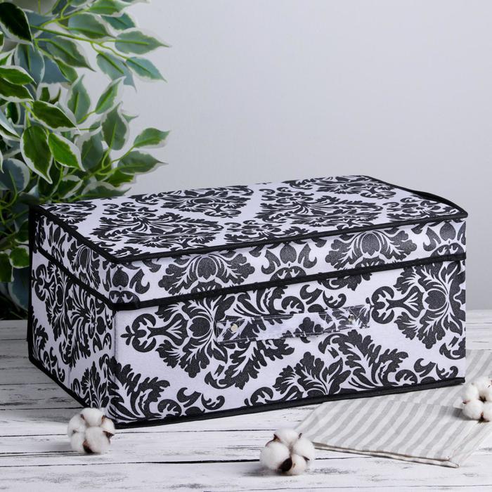 Короб для хранения с крышкой «Вензель», 45×30×20 см, цвет чёрно-белый - фото 797602953