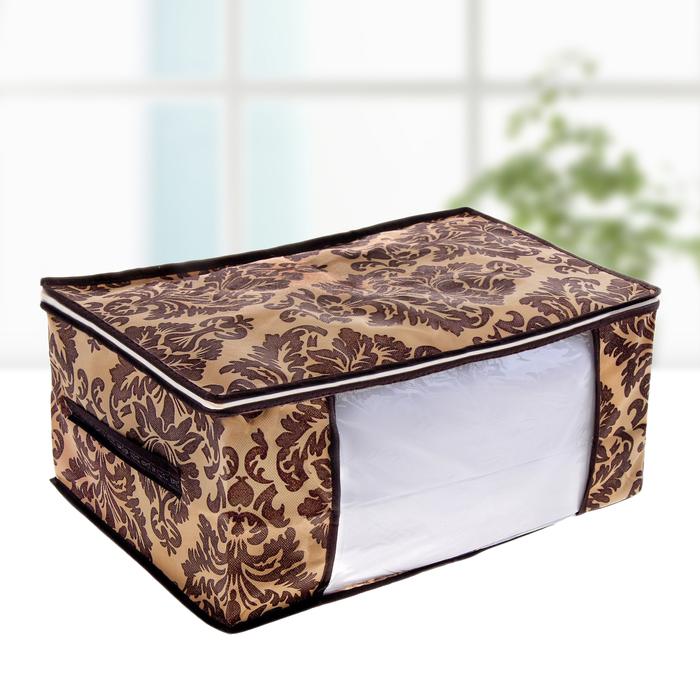 """Кофр для хранения вещей, 45х30х20 см """"Вензель"""", цвет коричнево-бежевый"""