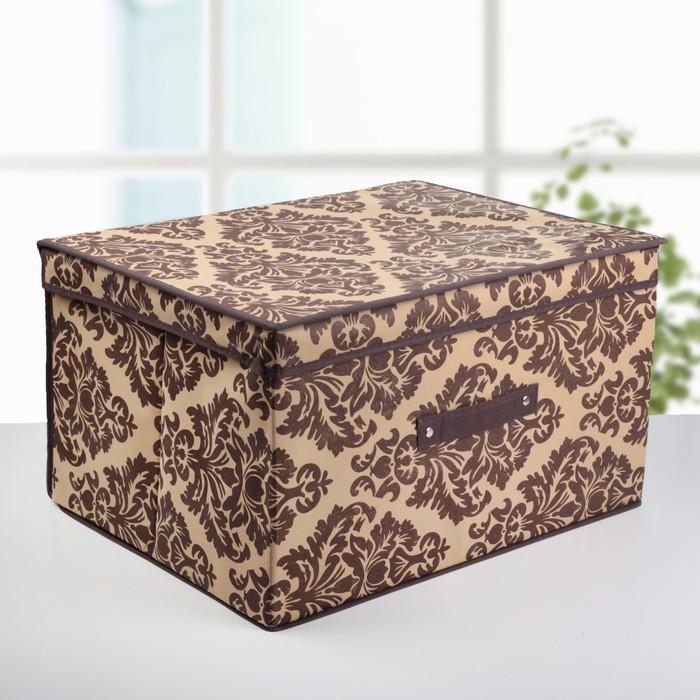 """Короб для хранения с крышкой 50х40х30 см """"Вензель"""", цвет коричнево-бежевый"""