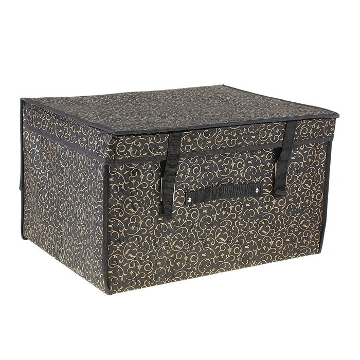"""Короб для хранения с крышкой 50х40х30 см""""Роскошь"""", цвет чёрно-золотой"""