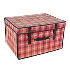 """Короб для хранения с крышкой, 50х40х30 см """"Шотландка"""", цвет красный"""