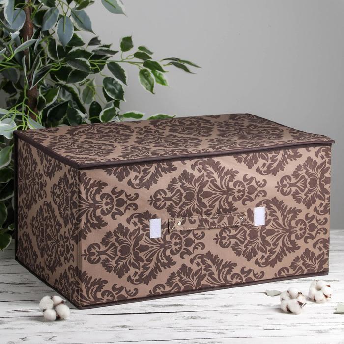 """Короб для хранения с крышкой 60х40х30 см """"Вензель"""", цвет коричнево-бежевый"""