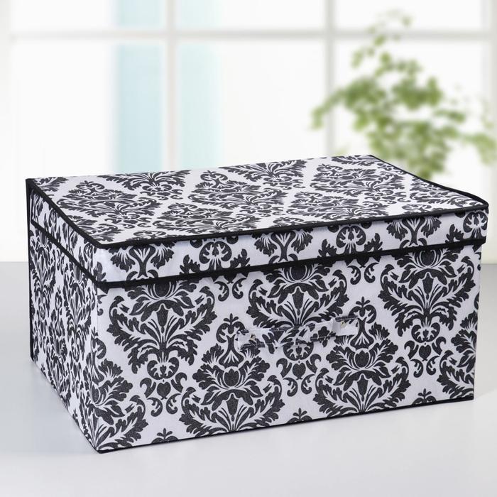 """Короб для хранения с крышкой, 60х40х30 см """"Вензель"""", цвет черно-белый"""
