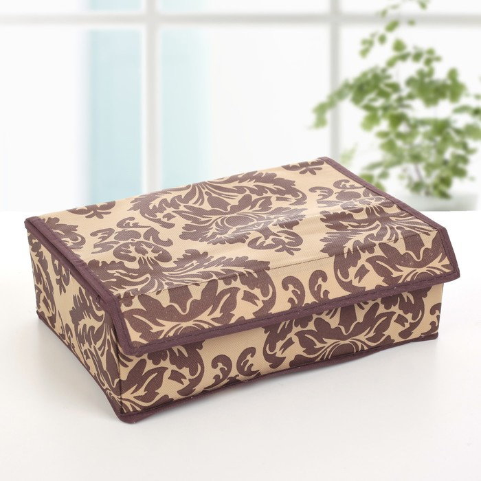 """Органайзер для белья с крышкой, 12 отделений, 30х20х10 см """"Вензель"""", цвет коричнево-бежевый"""