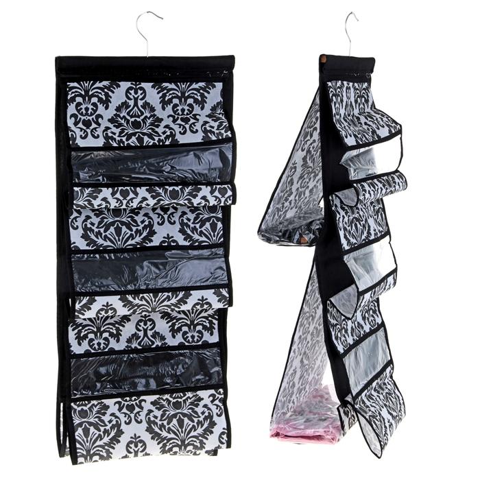 """Органайзер для хранения сумок 39х88 см, с вешалкой, двухсторонний """"Вензель"""", 5 отделений, цвет чёрно-белый"""