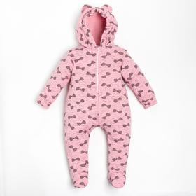 Комбинезон детский, цвет розовый/принт микс, рост 62-68 см