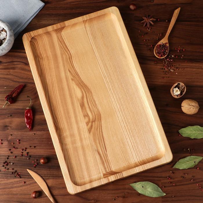"""Блюдо-доска для подачи и нарезки """"Классик"""", 40 х 25 см, массив ясеня - фото 626003"""