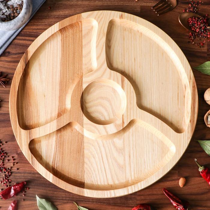 "Тарелка-доска для закусок и нарезки ""Октоберфест"", d-35 см, массив ясеня - фото 626043"