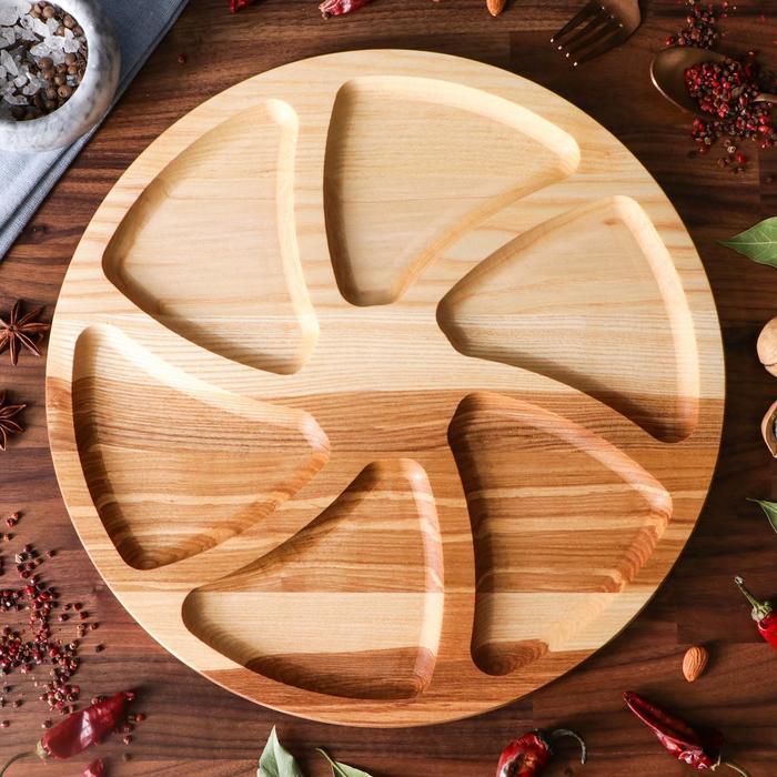 "Тарелка-доска для закусок и нарезки ""Конти"", d-35 см, массив ясеня - фото 626059"