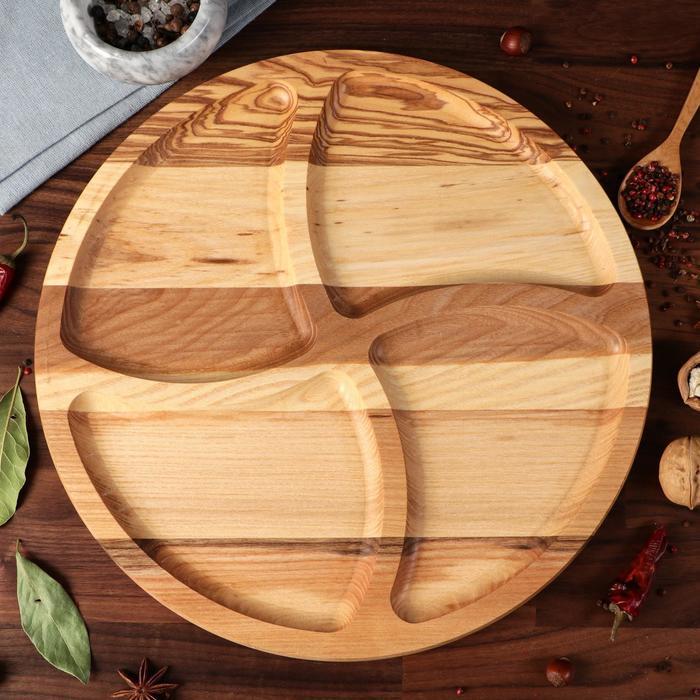 "Тарелка-доска для закусок и нарезки ""Италия"", d-35 см, массив ясеня - фото 626087"