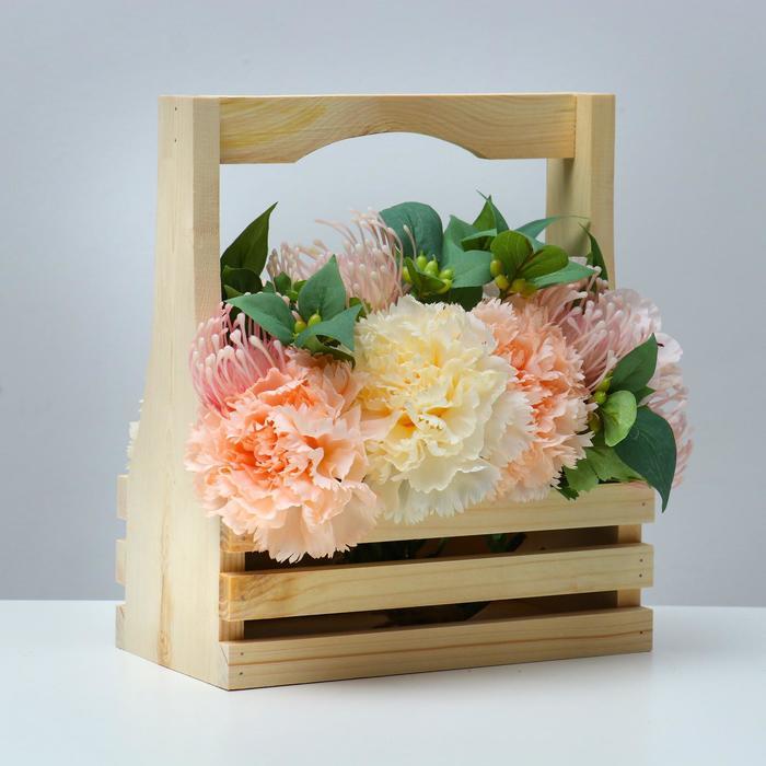 Кашпо деревянное 25×13,5×29(9) см, с фигурной ручкой, с двойной прорезью - фото 861312